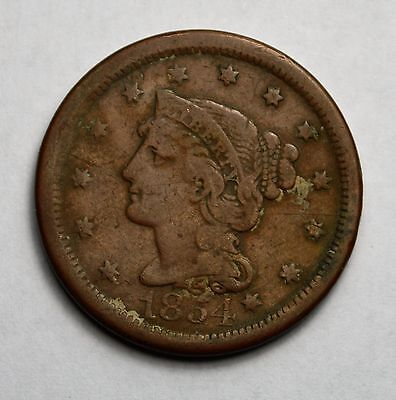1854 U.S. Large Braided Hair One Cent Coin...............................M62116G