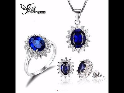 Blue Sapphire Set Ring  Earrings And Necklace  Solid 925 Sterling Solid Silver