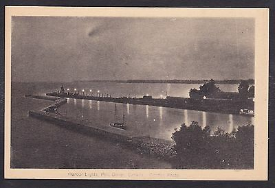 Circa 1915 - 1930 Vintage Postcard Harbor Lights PORT DOVER, Ontario Canada
