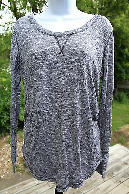 LIZ LANGE Maternity Size Large Gray Marbled Long Sleeve Lightweight Sweater Top