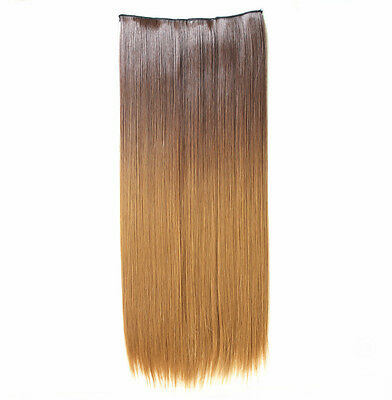 "22"" Clip-In Hairpiece Long Straight Ombre Blonde Synthetic Hair Extensions 8/27"