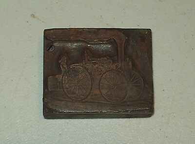 Printers Block Printing Letterpress Copper STEAM FIRE ENGINE TRUCK Vtg Antique