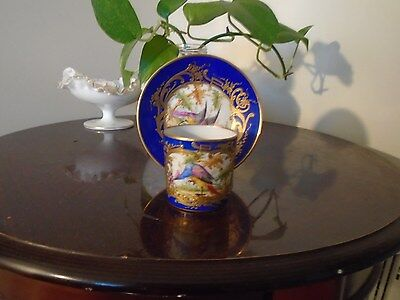 Antique Very Rare Chelsea Hand Painted  Exotic Bird Anchor Mark Cup And Saucer.