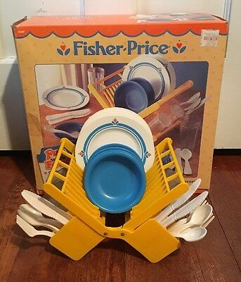 Vtg Fisher Price Fun With Food Family Dinnerware 4 Settings & Dish Rack W/ Box