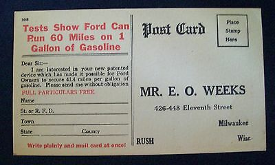 FORD MOTOR Early Ad PC Tests Show Ford Can Run 60 Miles on 1 Gallon of Gasoline!