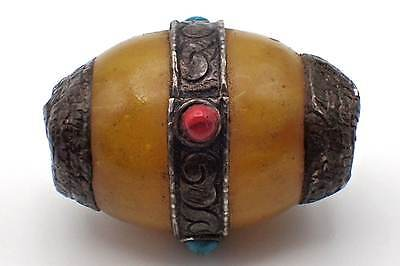 Gorgeous Antique Tibetan Copal Amber Decorated REAL Silver Cap Bicone Bead #5168