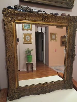 """Antique Ornate Gold Gilt Gesso Rococo French Baroque Large Wall Mirror 41"""" x 36"""""""