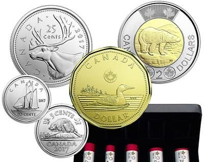 2017 Canada **5 x Classic Coins from Mint Set** $2, $1, 25c, 10c, 5c **NO TAX**