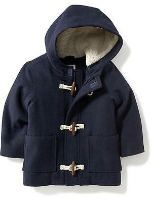 Boys' Toddler Fleece Hooded Toggle Coat New With Tags Navy Blue 3T