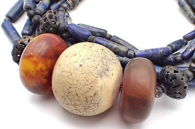 Old Turquoise Agate Amber With Carved Lapis Tubes SILVER Bead Necklace #5153
