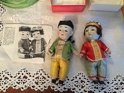 1920's ANTIQUE CHINESE PORCELAIN HEAD & COMPOSITION CHINESE BOY & GIRL DOLL