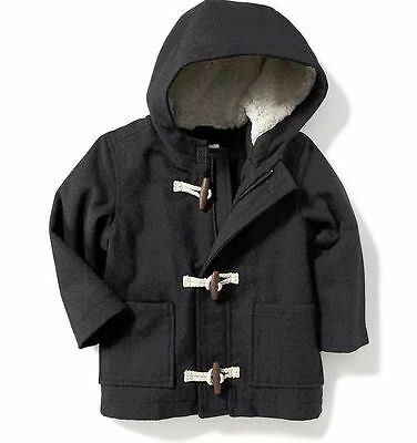 Boys' Toddler Cotton Wool  Fleece Hooded Toggle Coat New With Tags 5T Charcoal