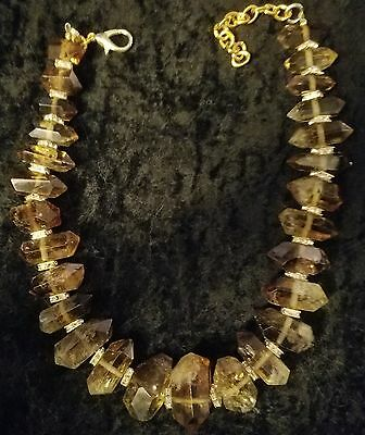 Smoky Quartz GEMMY Statement Necklace Rich Elegant Socialite Haute Couture Bling