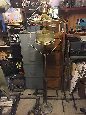 Antique Vintage Hendryx Brass Pagoda Bird Cage And Matching Stand