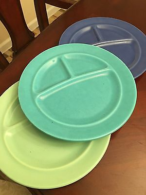 California Pottery Vintage Metlox Divided Dinner Plates Set of 3 Colors
