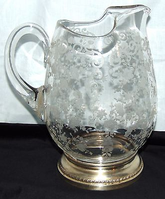 """Cambridge CHANTILLY CRYSTAL*9"""" WATER PITCHER /STERLING BASE* No Ice Lip*3900/115"""