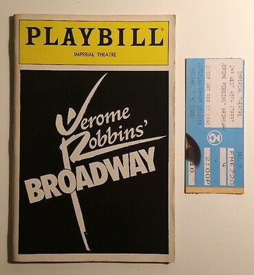 Vtg Playbill February 1990 Jerome Robbins' Broadway Imperial Theatre w/ Ticket