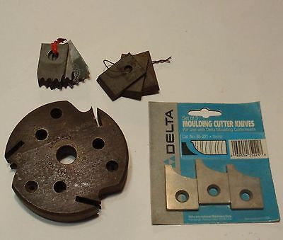 "Delta Mfg Co 1"" Planer Molder Molding Mold Knife Holder CutterHead & 3 Blade Set"