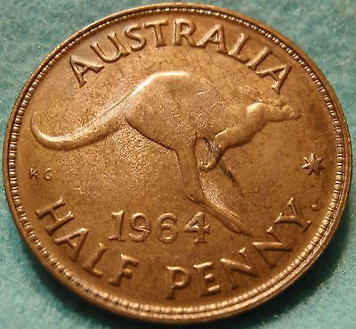 GEM BU 1964 Australia Half Penny - Choice Unc with Luster UNCIRCULATED nice coin