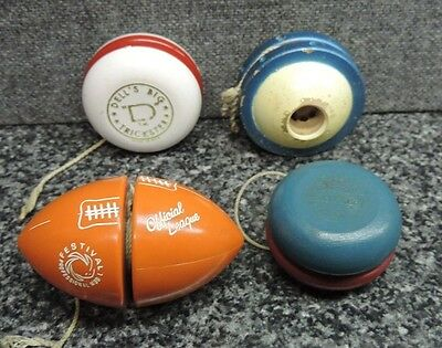 Vintage Yo Yo Lot 4x Duncan Satellite, Dell's Big Trickster, Football, Champion