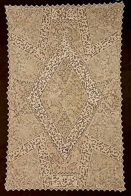17th/18th C Cantu Milanese Venetian Mixed Lace Tablecloth Museum Deaccession