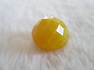 """*ANTIQUE 19th C. BEAUTIFUL FACETED YELLOW VENETIAN SLAG GLASS BALL BUTTON 1/2"""""""