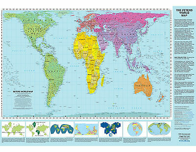Peters Projection World Map - Laminated Wall Map (January 2008)