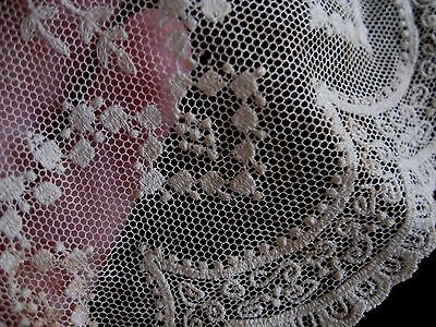 Fine Airy Antique Victorian Bridal Wedding Lace Fragment Tiny Doll Clothes Trim