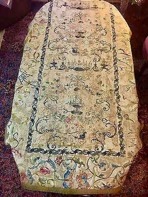 "Museum Deaccession Early 17th/18th Italian Silk Embroidered Wall Hanging 49""x81"""