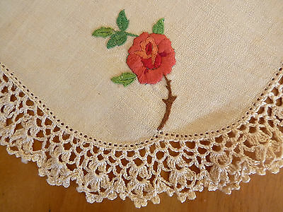VINTAGE Heavily Hand Embroidered Doily or Serviette Pink Rose on Ecru Linen