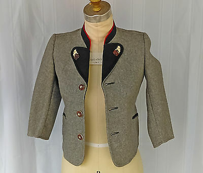 Vintage Austrian boys wool jacket, grey with dark green and red accents