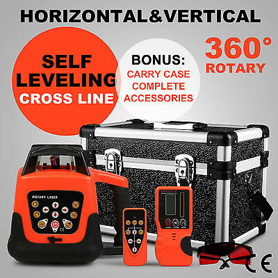 Rotary Laser Level Red Beam Self-Leveling Waterproof Automatic Heavy Duty 500M