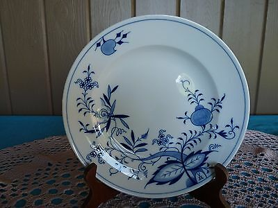 "MEISSEN Germany ""BLUE ONION VINE""  ONE Smooth Rim DEEP PLATE - Clean X Mark"