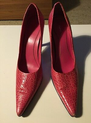 Nine West Leather Pink Snake Skin Heels Size 7.5