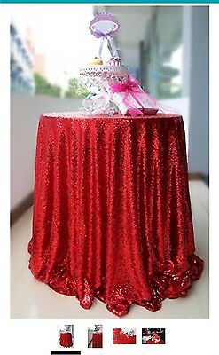 "108"" Red Glitter Round Tablecloth"