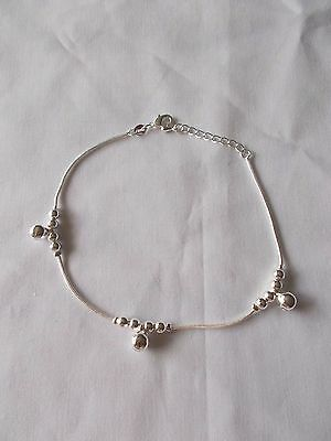 S925 Sterling Silver Plated 3 Bells 12 Beads Chain Anklet 20 cm + 4 cm Ext Chain