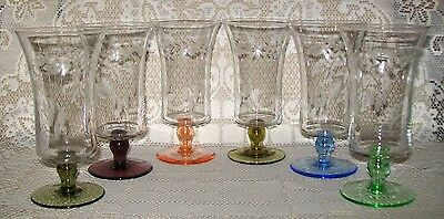 6 x VINTAGE ETCHED HARLEQUIN STEMMED PARFAIT GLASSES 12cm (*1 repaired base*)