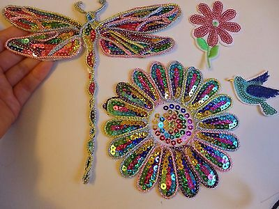 4 sequin patches flower bird dragonfly patch applique iron on sew motif hot fix