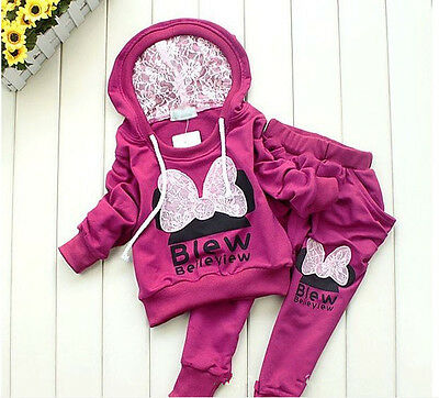 2pcs/set Girls Long Sleeve hooded coat + Pants Clothes Outfits Suits Kids Baby
