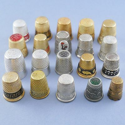 20 vintage mixed metal thimbles, including stratnoid, enamel, inset toppers etc