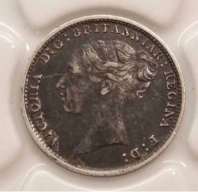 Great Britain 1885 Sterling Silver Three 3 Pence Coin  C373C