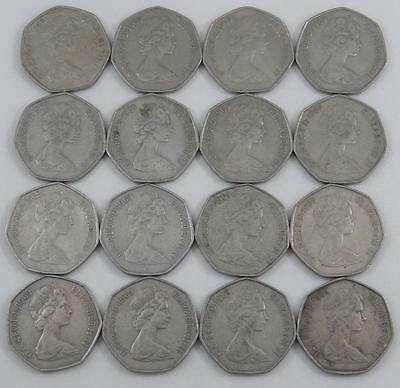 Great Britain 1969 50 Pence 16 Coin Lot England UK A0893