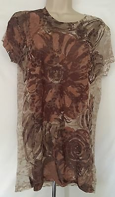 New Life Is Good Women's T Shirt White Short Sleeve Brown Size L