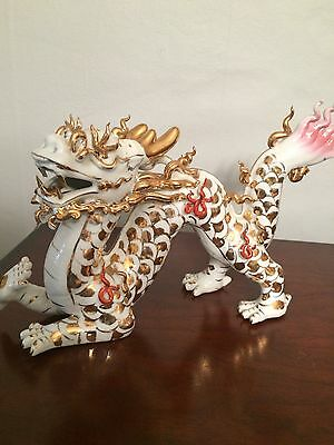 Oriental Porcelain Dragon With Gold Accents Figurine/Statue