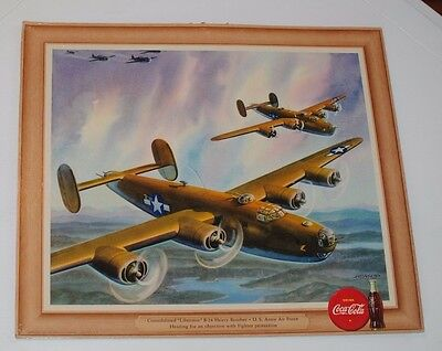 Coca-Cola Vintage Cardboard Poster Copyright 1943 Military U.S. Army Airforce
