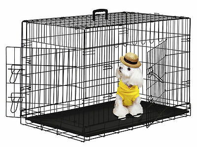 """2 Doors Black 24"""" Pet Folding Suitcase Dog Cat Crate Cage Kennel Pen w/ABS Tray"""