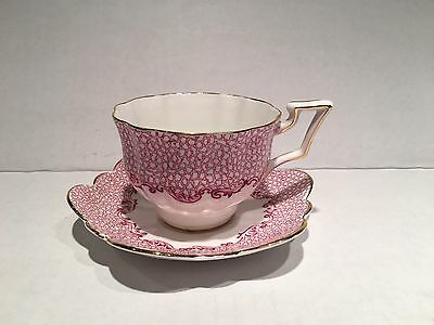 Royal York Bone China England Tea Cup and Saucer -Magenta Gold Trim