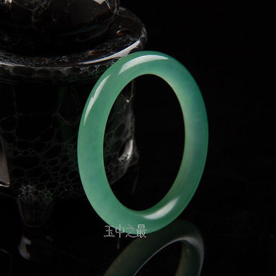 Handmade Natural Light green Jade Bangle Bracelet 60mm