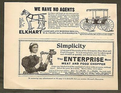 Vintage Ad Munsey's Magazine - Elkhart Carriages & Enterprise Meat Chopper