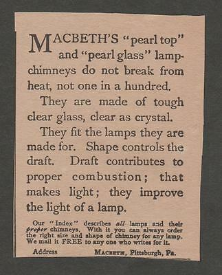Vintage Ad From The Gentlewoman March 1900 Macbeth's Lamp Chimneys